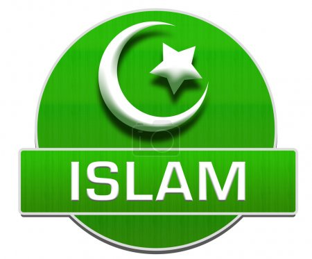 Islamic religious symbol over green background wit...
