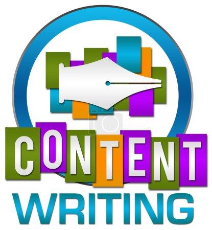 Foto de Contenido escribir concepto imagen con texto y pluma símbolo. - Imagen libre de derechos