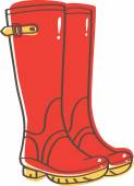 Red wellington boots with yellow buckle
