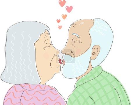 Elderly couple in love kissing