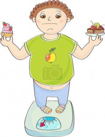 Boy with overweight standing on the scales with a cakes in hands