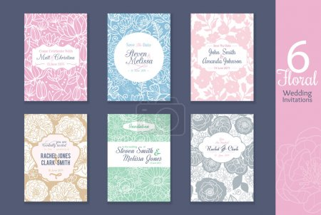 Vector six floral wedding, save the date invitatio...