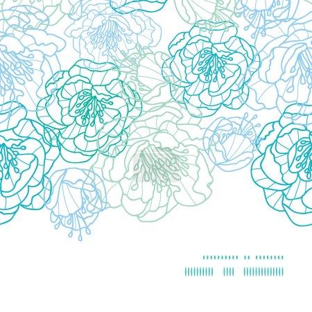 Vector blue line art flowers horizontal frame seamless pattern background