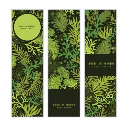 Illustration pour Vecteur arbre de Noël à feuilles persistantes bannières verticales définir motif fond conception graphique - image libre de droit