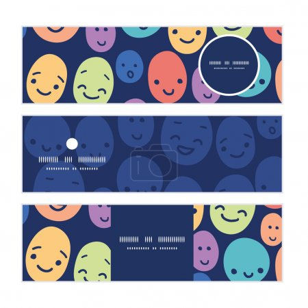 Illustration for Vector funny faces horizontal banners set pattern background graphic design - Royalty Free Image