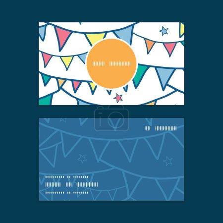 Ilustración de Vector colorful doodle bunting flags vertical round frame pattern business cards set graphic design - Imagen libre de derechos
