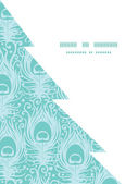 Vector soft peacock feathers Christmas tree silhouette pattern frame card template