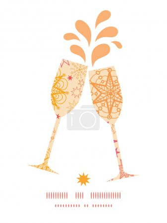 Vector warm stars toasting wine glasses silhouettes pattern frame