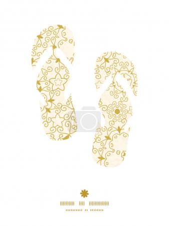 Vector abstract swirls old paper texture flip flops silhouettes pattern frame