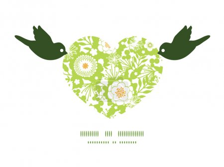 Vector green and golden garden silhouettes birds holding heart silhouette frame pattern invitation greeting card template
