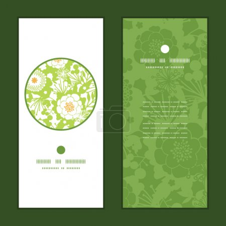 Vector green and golden garden silhouettes vertical round frame pattern invitation greeting cards set