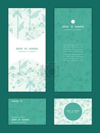 Illustration for Vector summer line art dandelions vertical frame pattern invitation greeting, RSVP and thank you cards set graphic design - Royalty Free Image