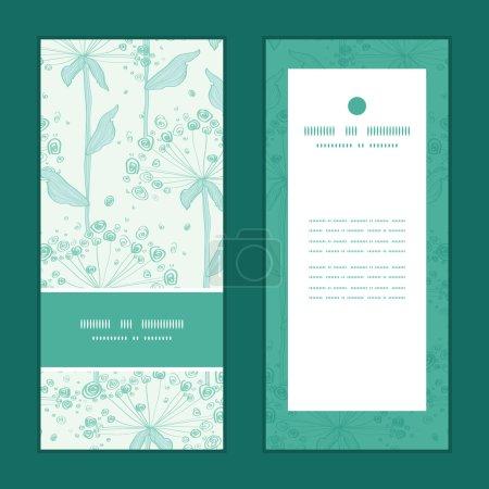 Illustration for Vector summer line art dandelions vertical frame pattern invitation greeting cards set graphic design - Royalty Free Image