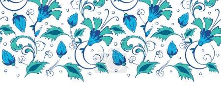 Vector blue green swirly flowers horizontal border seamless pattern background