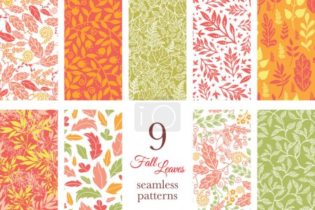 Illustration for Vector Fall Leaves 9 Set Seamless Patterns graphic design - Royalty Free Image