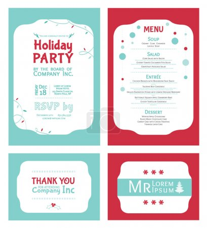 Vector Winter Holiday Party Invitation Set. Light blue. Red. Festive. Menu. Thank you. Place card.