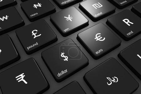Photo pour Rendu tridimensionnel des monnaies du monde sur un clavier moderne. Concept de finance. Icônes de monnaie réalisées par Freepik à partir de www.flaticon.com - image libre de droit
