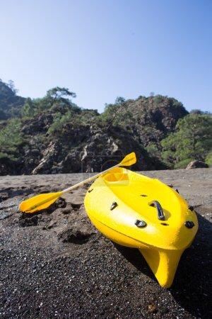 Colorful kayaks on the tropical beach