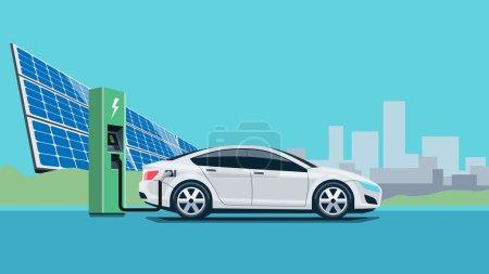 Illustration pour Illustration vectorielle plate d'une voiture électrique blanche se rechargeant à la station de charge en face de la centrale solaire. Electromobilité e-motion concept avec horizon de la ville en arrière-plan . - image libre de droit