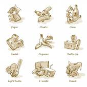 Pencil Hand Drawing of Trash Waste Categories Types