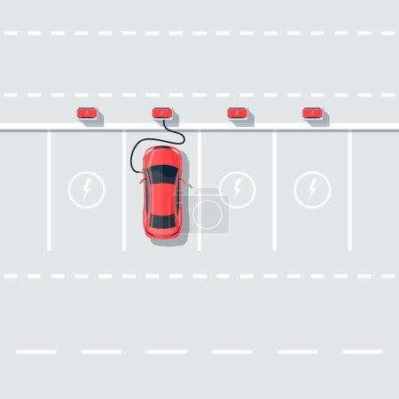 Illustration pour Illustration vectorielle plate de la recharge de voiture électrique à la station de charge en style dessin animé. Electromobility eco e-motion concept. Vue du dessus de la voiture sur le parking et de recharger les batteries avec fond de route . - image libre de droit