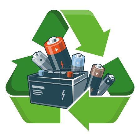 Illustration pour Batteries usagées avec symbole de recyclage vert dans le style dessin animé. Illustration vectorielle isolée sur fond blanc. Déchets d'équipements électriques et électroniques - concept DEEE . - image libre de droit
