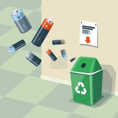 Illustration pour Illustration des piles usagées et bac de recyclage pour eux. Les piles sont dans l'air et tombent dans la poubelle verte debout près du mur. Concept de gestion des déchets . - image libre de droit