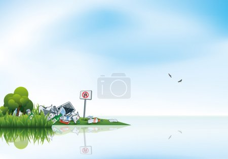 Vector illustration of littering in the green natu...