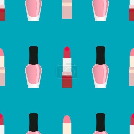 Lipsticks with nail polish seamless pattern 1