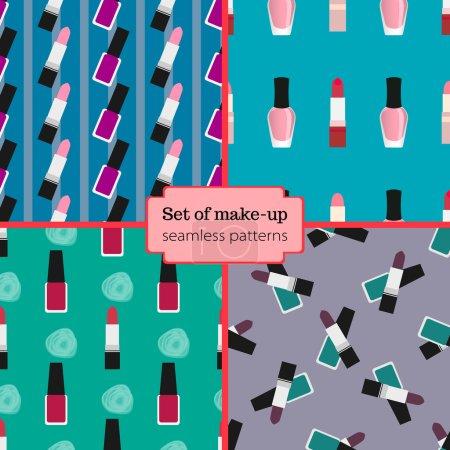 Set of seamless make-up patterns