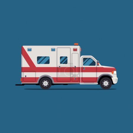 Illustration for Ambulance emergency paramedic car. Vector modern creative flat design. First aid transportation. Isolate on white background. - Royalty Free Image