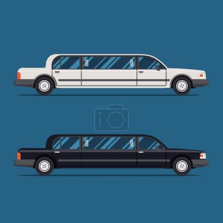 Illustration pour Limousine blanche et limousine noire. Illustration vectorielle plate. Isoler. Véhicule de luxe. Vue latérale - image libre de droit