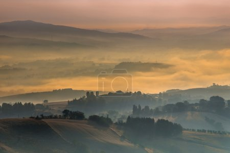 Morning Fog over Tuscany Hills, Italy