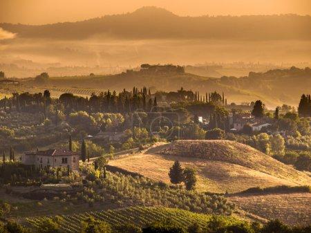 Paysage de Toscane Village scène près de Volterra