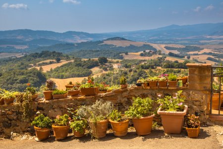 View over Tuscany Landscape with Pots of Flowers along the Balus