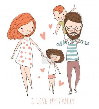 Illustration pour J'aime mon concept de famille, illustration vectorielle mignonne avec mère, père, fils et fille - image libre de droit