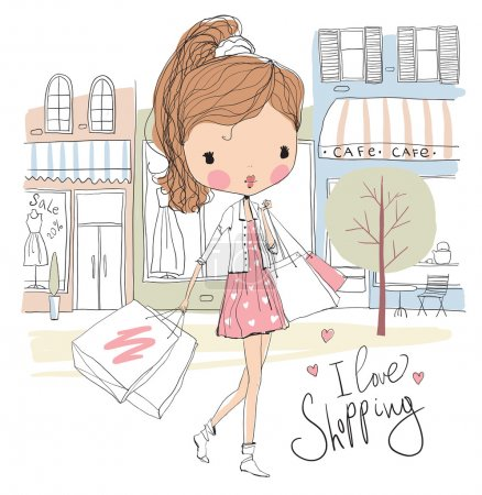 Illustration for Cute girl with with shopping bags on shop  background. Vector illustration - Royalty Free Image