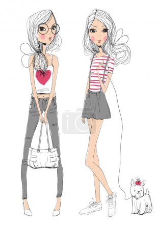 Illustration for Two fashion girls with dog on white background. Vector illustration - Royalty Free Image