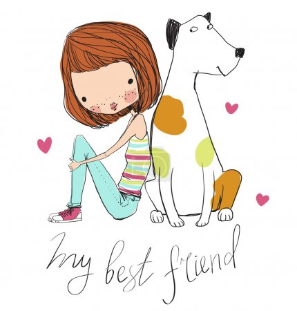 Illustration pour Fille mignonne avec chien sur fond blanc - image libre de droit
