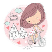 Cute girl on bicycle