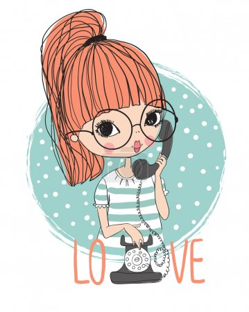 Illustration for Cute girl with vintage phone background - Royalty Free Image
