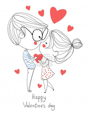 Boy and girl kissing. Love cards.