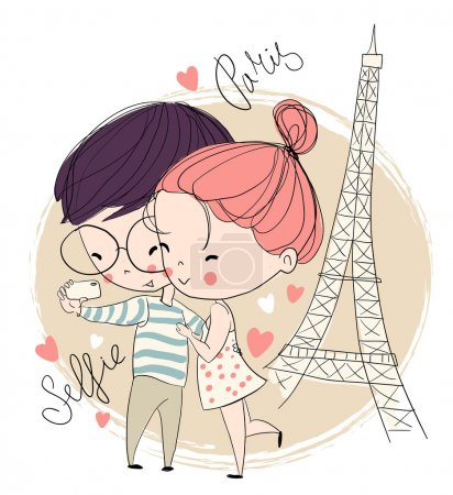 Illustration for Young girl and boy making self portrait. Paris. Love card. - Royalty Free Image
