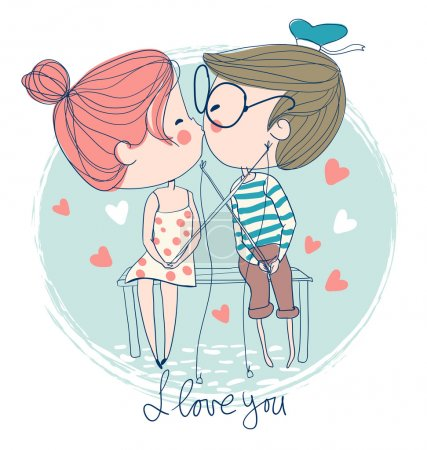 Illustration for Cute couple kissing sitting on pier - Royalty Free Image