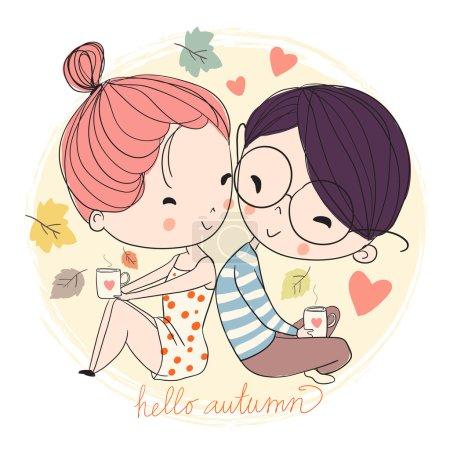 Boy and girl. Love card