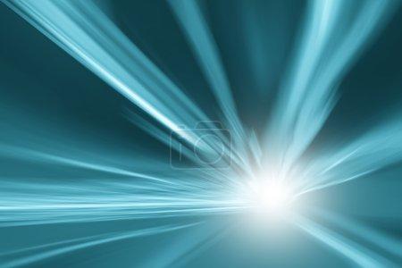 Photo pour Tunnel turquoise bleu lumière couleur accélération vitesse mouvement flou fond. Motion blur visualise la vitesse et la dynamique . - image libre de droit