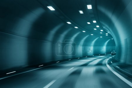 Blue color blurred tunel driving