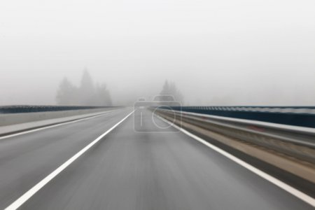 Foggy highway driving