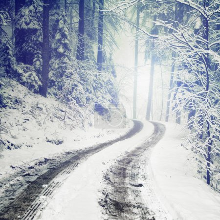 Photo pour Blurry fantasy color, snowy and icy winter forest road. - image libre de droit