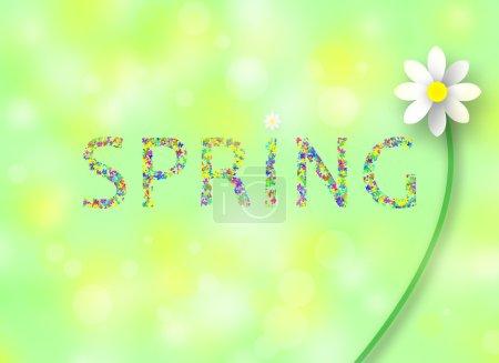Photo pour Mot de printemps coloré avec des fleurs sur l'illustration de fond de printemps . - image libre de droit
